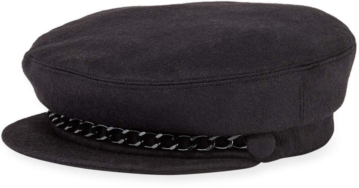 Eugenia Kim Marina Cashmere Newsboy Hat with Chain Detail