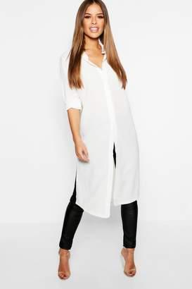 boohoo Petite Split Side Maxi Shirt