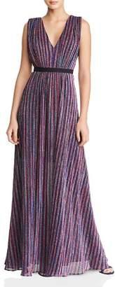 BCBGMAXAZRIA Shimmer Stripe Knit Gown