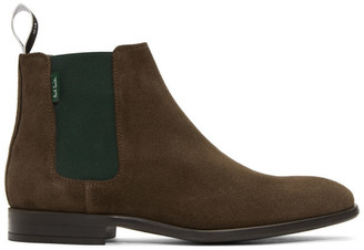 Paul Smith Brown and Green Gerald Chelsea Boots