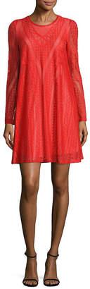 BCBGMAXAZRIA Solid Knit Lace Dress