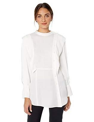 BCBGMAXAZRIA Women's Asymmetric Button Front Shirt