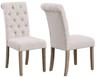 Famis Corp High Back Tufted Parsons Upholstered Padded Dining Room Chairs Side Solid Wood-Accent (Set of 2) Famis Corp