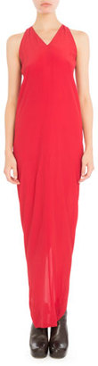 Rick Owens Sleeveless V-Neck Column Gown, Red $770 thestylecure.com