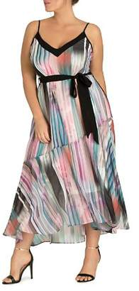 City Chic Plus Moody Stripe Maxi Dress
