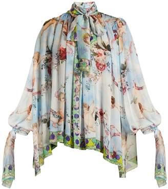 Dolce & Gabbana Angel-print balloon-sleeved blouse