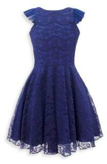 David Charles Girl's Lace V-Back Fit-And-Flare Dress