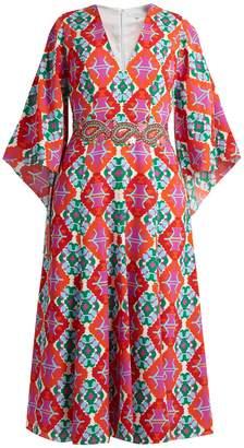 Andrew Gn Geometric-print V-neck silk midi dress