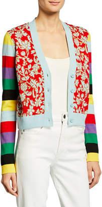 Alice + Olivia Minako Multipattern V-Neck Button-Front Cardigan