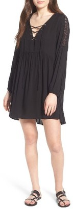 Women's Lush Lace-Up Babydoll Dress $55 thestylecure.com