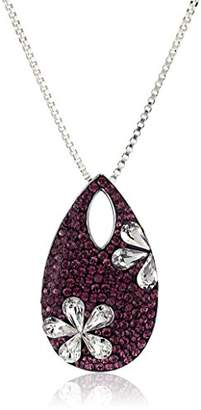 Swarovski Sterling Silver Amethyst Flower Made with Pendant Necklace