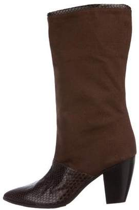 Walter Steiger Snakeskin-Trimmed Mid-Calf Boots