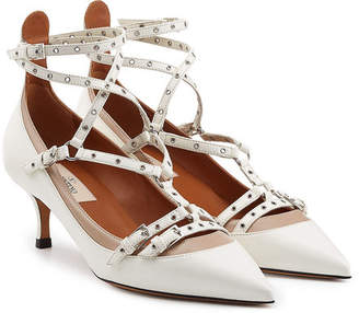 Valentino Love Latch Leather Kitten Heel Pumps
