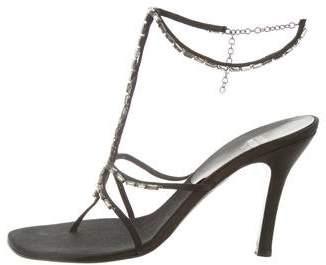 Stuart Weitzman Embellished T-Strap Sandals