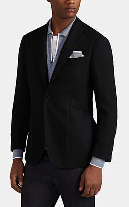 Ring Jacket Men's Basket-Weave Wool Two-Button Sportcoat - Black