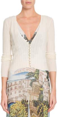 Altuzarra Button-Front Fine Knit Wool-Cashmere Cardigan