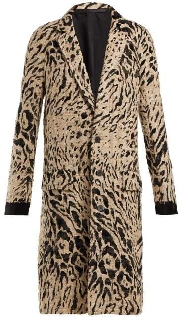 Leopard Flocked Tweed Coat - Womens - Cream Multi