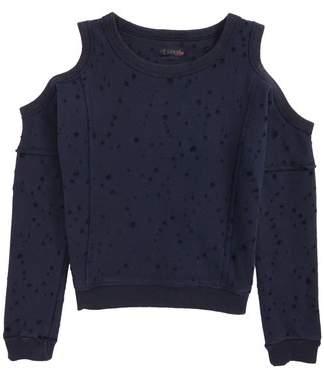 Hudson Distressed Cold Shoulder Sweatshirt