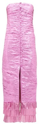 ATTICO The Ruched Metallic Taffeta Midi Dress - Womens - Fuchsia