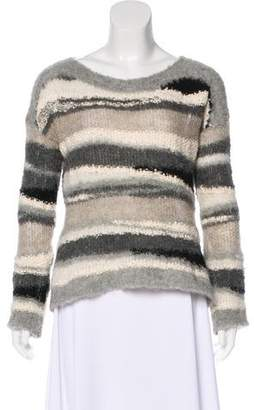 Line Open Knit-Trimmed Long Sleeve Sweater