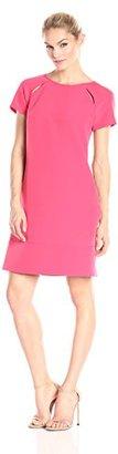 Donna Morgan Women's Short Sleeve Crepe Raglan Cut Out Trapeze Dress $64.29 thestylecure.com