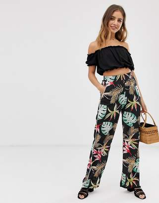 Brave Soul wide leg trousers in tropical print