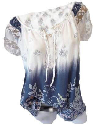 Abetteric Women Short Sleeve Strapless Chic Floral Print Lacing Top Shirt 3XL