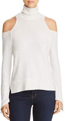 Red Haute Cold-Shoulder Turtleneck Sweater