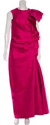 Lanvin Satin Ruffle-Trimmed Dress