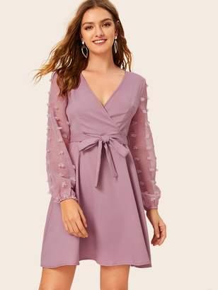 Shein Self Tie Swiss Dot Sleeve Surplice Dress