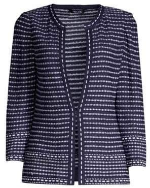 Misook Women's Tweed Dash-Trim Jacket - Indigo White - Size XS
