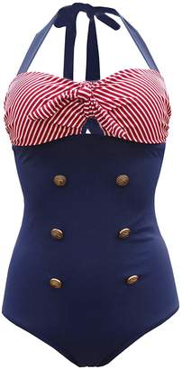 529056e6637 Futurino Women's Retro Sailor Nautical Halter Neck Strappy One Piece  Swimsuit