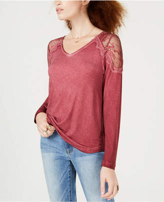 American Rag Juniors' Lace-Shoulder Strap-Back Top, Created for Macy's
