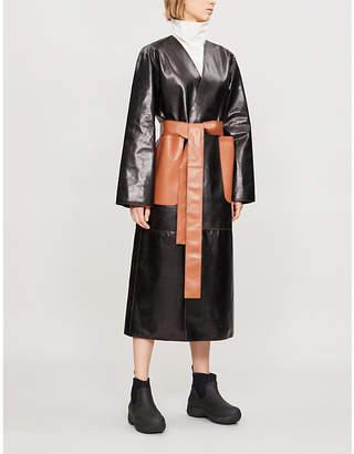 Loewe Self-tie leather wrap coat