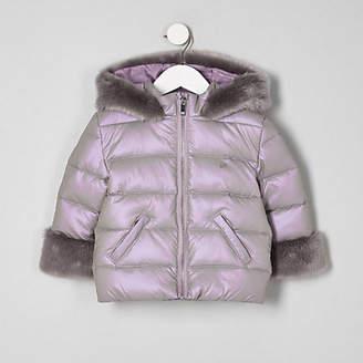 River Island Mini girls purple faux fur trim padded coat