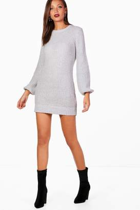 boohoo Tall Bubble Sleeve Knitted Dress