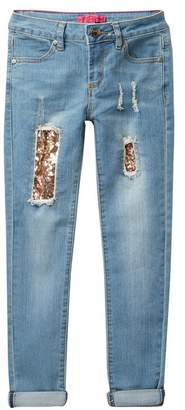 Betsey Johnson Rip & Repair Sequin Skinny Cuffed Jeans (Little Girls)