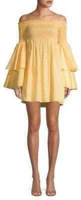 Caroline Constas Shirred Cotton Fit-&-Flare Dress