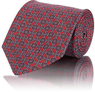 Brioni Men's Diamond-Motif Silk Twill Necktie - Red