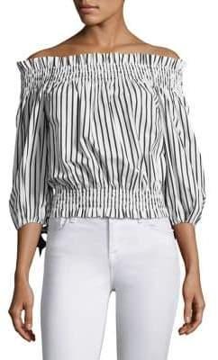 Caroline Constas Lou Stripe Off-The-Shoulder Top