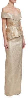 Teri Jon by Rickie Freeman Off-The-Shoulder Metallic Jacquard Gown