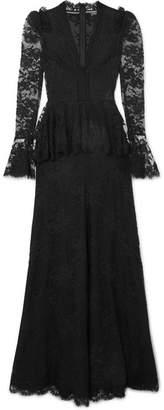 Alexander McQueen Cotton-blend Lace Peplum Gown - Black