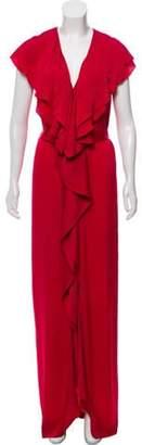 Stella McCartney Satin Ruffle-Trim Dress Pink Satin Ruffle-Trim Dress