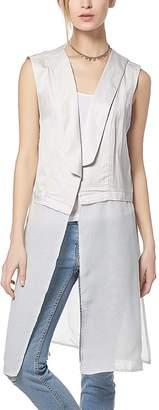 White Linen-Blend Open Vest - Plus Too