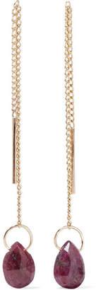Melissa Joy Manning 14-karat Gold Ruby Earrings