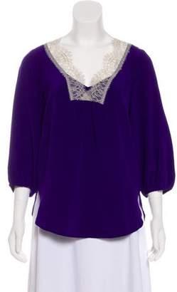 Tibi Lace-Trimmed Silk Blouse