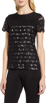 Karl Lagerfeld Paris Stripe Lace Top