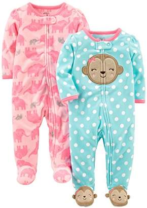Carter's Simple Joys by Girls' 2-Pack Fleece Footed Sleep and Play