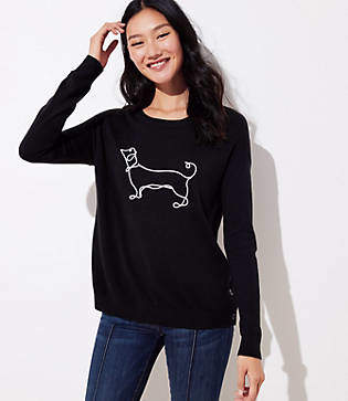 LOFT Dachshund Side Button Sweater