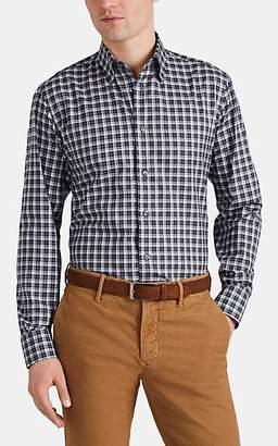 Brioni Men's Plaid Cotton Poplin Shirt - Gray Pat.